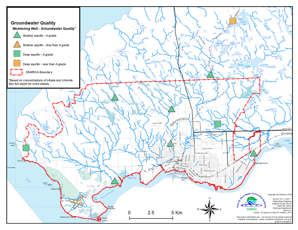 Map of Groundwater Quality showing letter grades of monitoring wells and locations.